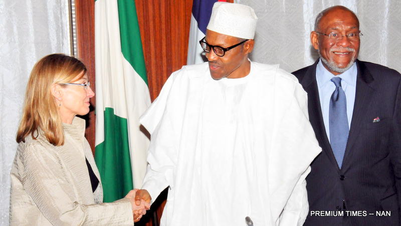 PIC. 6. FROM LEFT:  PRESIDENT, UNITED STATES INSTITUTE OF PEACE (USIP), NANCY LINDBORG;  PRESIDENT MUHAMMADU BUHARI AND  THE  SENIOR ADVISOR, EXECUTIVE OF USIP,  MR JOHNNIE CARSON, DURING THE VISIT OF A DELEGATION FROM THE USIP TO THE PRESIDENTIAL VILLA IN ABUJA ON MONDAY (15/2/16). 0900/15/02/2016/ICE/BJO/NAN