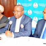 FILE PHOTO: FROM LEFT:  EXECUTIVE COMMISSIONER,  LEGAL AND ENFORCEMENT, SECURITIES AND EXCHANGE COMMISSION (SEC),  MRS SA'ADATU BELLO;  DIRECTOR-GENERAL, MOUNIR   GWARZO AND MANAGING DIRECTOR, CENTRAL SECURITIES CLEARING SYSTEMS, JOE MEKILIUWA, AT A NEWS CONFERENCE ON THE UPCOMING SENSITISATION   PROGRAMMES OF THE COMMISSION, IN LAGOS ON THURSDAY (11/2/16). 0831/11/2/2016/BOA/JAU/BJO/NAN