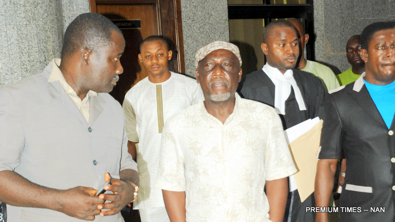 FORMER MINISTER OF INTERIOR, COMRADE ABBA MORO (M) AT THE FEDERAL HIGH   COURT, WHERE HE WAS ARRAIGNED BY THE ECONOMIC AND FINANCIAL CRIMES COMMISSION   (EFCC) ON AN 11-COUNT CHARGE OVER IMMIGRATION JOB SCAM,  IN ABUJA ON MONDAY   (29/2/16). THE JUDGE ADJOURNED THE CASE TO MARCH 2 FOR HEARING OF MORO'S BAIL   APPLICATION AND ORDERED HIS REMAND IN KUJE PRISON CUSTODY.  1242/29/2/2016/HF/BJO/NAN