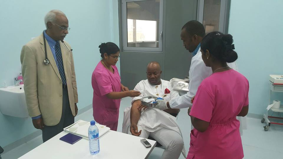 Senator Akpabio being attended to at Ibom specialist  hospital