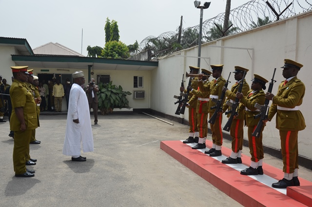 NDLEA chairman Mohammad Abdallah inspecting the guard of   honour at the NDLEA headquarters