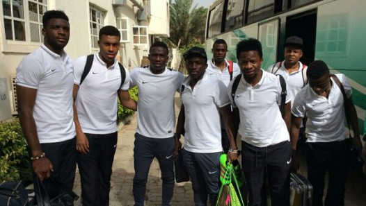Iwobi (2nd from left with other Super Eagles players in Kaduna.