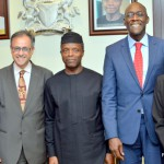 PIC 27. FROM LEFT; WORLD BANK SENIOR DIRECTOR MACRO-ECONOMICS AND FISCAL MANAGEMENT, MR JOHN PANZER; WORLD BANK GROUP COUNTRY DIRECTOR FOR NIGERIA, MR RACHID BENMESSAOUD; VICE PRESIDENT YEMI OSINBAJO; WORLD BANK AFRICA REGION VICE PRESIDENT, MR MAKHTAR DIOP AND IFC COUNTRY MANAGER FOR NIGERIA, Ms EME ESSIEN AFTER MEETING WITH WORLD BANK GROUP AT THE PRESIDENTIAL VILLA IN ABUJA ON THURSDAY (17/03/16).  2367/17/3/2016/ISE/ICE/NAN