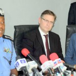 PIC.14. FROM LEFT: I-G SOLOMON ARASE; DIRECTOR OF OPERATIONS, INEQE   GROUP, MR GARY WHITE AND HEAD, WEST AFRICA CONFLICT, STABILITY AND   SECURITY, CATHERINE WEISS AT A ROUNDTABLE DISCUSSION ON SECURITY   STABILISATION BY THE BRITISH EMBASSY IN COLLABORATION WITH THE NIGERIA   POLICE IN ABUJA ON THURSDAY  (17/3/16)  2355/17/3/2016/HF/CH/NAN