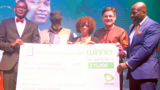 (L-R) Winner, 2015 Etisalat Prize for Literature, Fiston Mwanza Mujila; Patrons of the Etisalat Prize, Kole Omotoso and Margaret Busby; Etisalat Nigeria Chief Executive Officer, Matthew Willsher and the Chair of Judges, Etisalat Prize for Literature, Prof. Ato Quayson with the cheque of 15,000 BP presented to Mujila at the 2015 Awards Ceremony of the Etisalat Prize for Literature in Lagos at the weekend