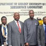 L-R: Exploration Geoscientist, The Shell Petroleum Development Company, Dr. Adelola Adesida; Deputy Registrar, University of Ibadan, Mr Victor Adegoroye; Vice Chancellor, Professor Abel Olayinka; SPDC's General Manager, External Relations, Mr. Igo Weli; Deputy Vice Chancellor, Prof. Ambrose Aiyelari; and the Dean, Faculty of Science, Prof. Anthony Onilude, at the inauguration of the university's  SPDC JV Subsurface Centre in Ibadan …on Monday