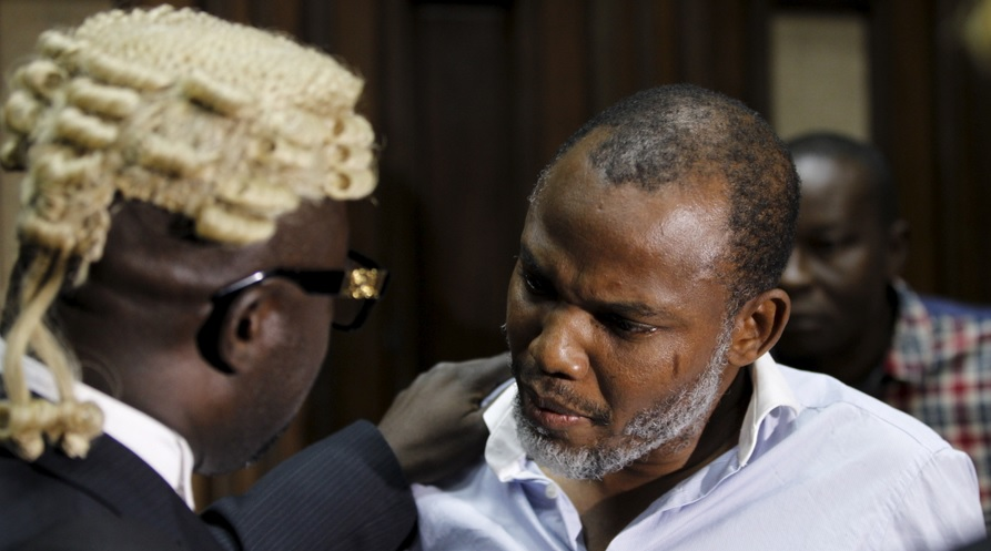 Image result for N-Kanu's Lawyer Address The Press As Court Adjourn His Case To 5 December