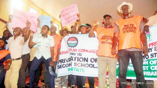 PIC 14. PROTEST BY OYO STATE NLC IN IBADAN.   PIC 14. PROTEST BY OYO STATE NLC OVER THE PRIVITIZATION OF SECONDARY SCHOOLS IN OYO STATE ON WEDNESDAY (1/6/16). 3963/1/6/2016/MO/OTU/ICE/NAN