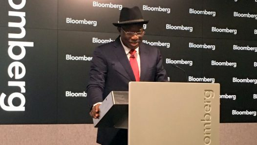 FILE PHOTO: Former President Goodluck Jonathan speaking at the Bloomberg Studio in London