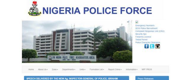 Screenshot of the Nigeria Police Force website