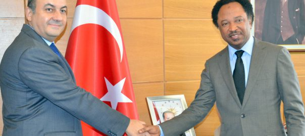 Sen. Shehu Sani (R) with Ambassador of Turkey, Ambassador Hakan Cakil, during the Senator's visit to condole the Ambassador over the recent coup attempt in that country, in Abuja on Thursday (28/7/16) 5397/28/7/2016/JAU/BJO/NAN