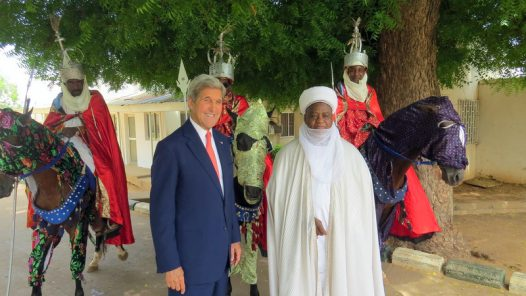 Sultan Muhammad Sa'ad Abubakar conducts US Secretary of State, Joh Kerry, round the Palace during the envoy's visit to Sokoto...23/08/16
