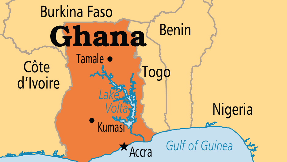 Ghana Launches First Satellite Years After Independence - Ghana map
