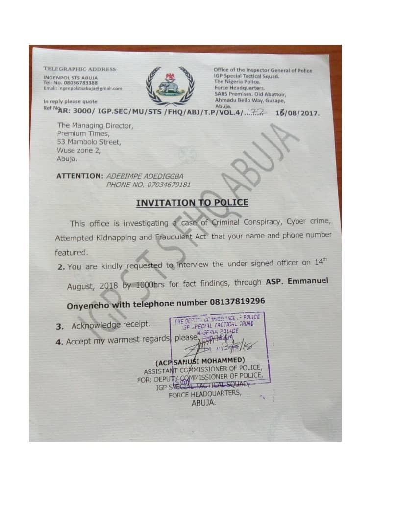 DEVELOPING STORY: Nigerian police detain Premium Times journalist