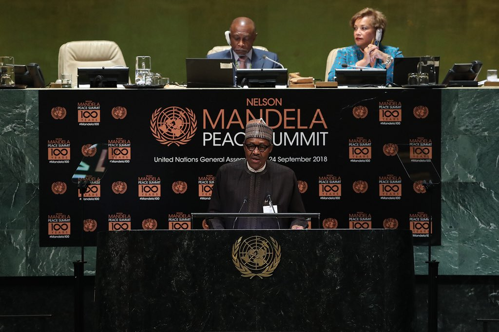 Mr Buhari spoke on Monday evening at the declaration of Nelson Mandela Decade of Peace at the UN headquarters in New York.