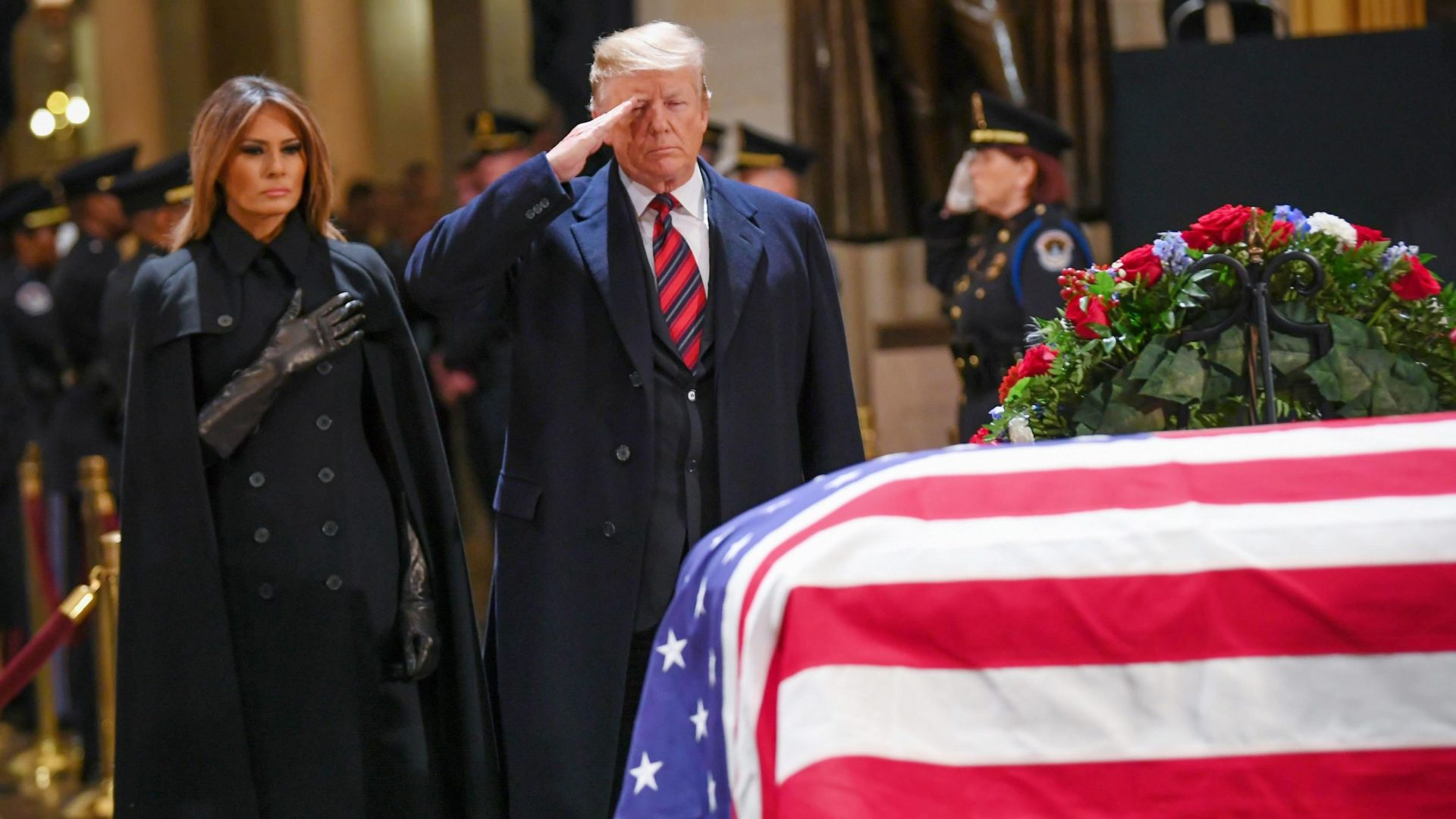 Former President George H.W. Bush was hailed at his state funeral on Wednesday as a warrior-statesman of uncommon personal kindness.
