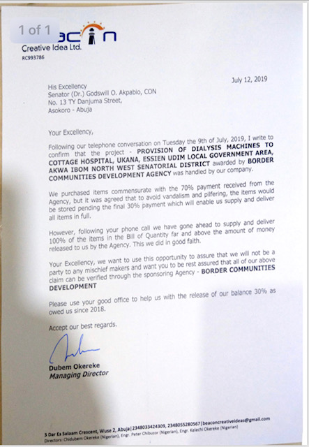 Documents showing that Akapbio did not supply dialysis machines in Akwa Ibom