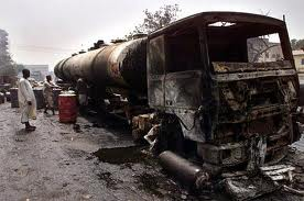 FILE PHOTO: The petrol tanker suddenly caught fire